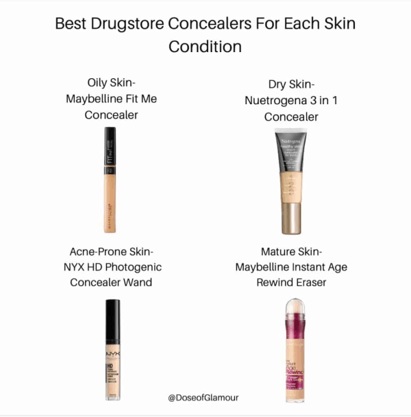 Concealers for different skin types